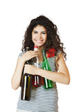 Happy woman with bottles Royalty Free Stock Photos