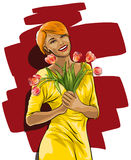 Happy woman with a bouquet of flowers Stock Photo