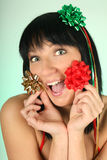 Happy woman with bows and ribbons on head Stock Images