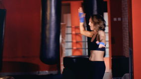 Happy woman boxer dancing in gym. Excited about her win. stock video footage