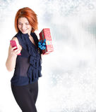 Happy woman with boxes gift Stock Image