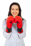 Happy woman with boxing gloves Royalty Free Stock Photos