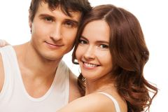 Happy woman with boyfriend Royalty Free Stock Images