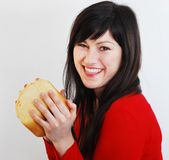 Happy woman with bread Stock Image
