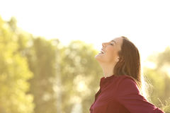 Happy woman breathing fresh air outdoors. Side view of a happy woman breathing fresh air outdoors with a green background and a warm light royalty free stock images