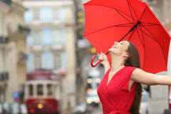 Happy woman breathing in the street Royalty Free Stock Photos