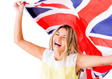 Happy woman with British flag Stock Images