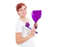 Happy woman with brush and shovel Stock Photography