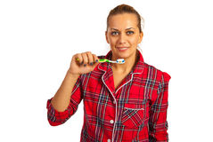 Happy woman brush teeth Stock Photo