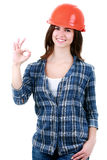Happy woman in builder uniform. Woman dressed in clothing of the builder Royalty Free Stock Images