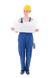 Happy woman builder in workwear holding building plan isolated o Royalty Free Stock Photography