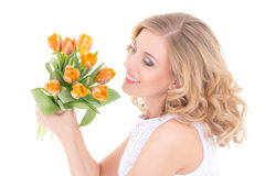 Happy woman with bunch of flowers Royalty Free Stock Photo
