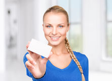 Happy woman with business card. In office Stock Photos