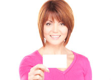 Happy woman with business card. Over whiter Stock Photo