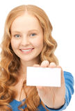 Happy woman with business card. Over whiter Stock Image