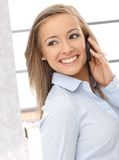 Happy woman on the call Stock Photography