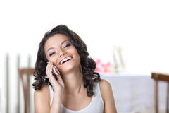 Happy woman call phone smile in white Royalty Free Stock Image
