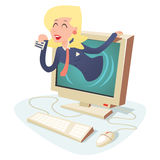 Happy Woman with Calling Card in Monitor Center Royalty Free Stock Photos