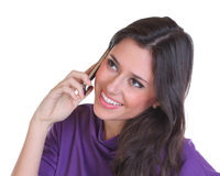 Happy woman calling by phone Royalty Free Stock Image