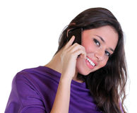 Happy woman calling by phone Stock Photography
