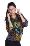 Happy woman calling by phone Stock Image