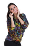 Happy woman calling by phone. Young beautiful woman calling by phone Royalty Free Stock Photo
