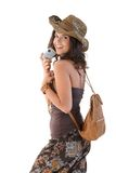 Happy woman with camera on holiday Royalty Free Stock Photo