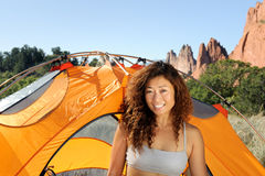 Happy Woman Camping Stock Photos