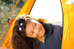 Happy Woman Camping out in Tent Royalty Free Stock Photos