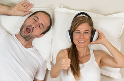 Happy woman because she can sleep Royalty Free Stock Photo