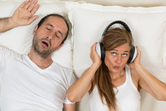 Happy woman because she can sleep Stock Image