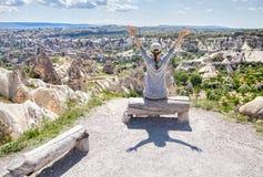 Happy Woman in Cappadocia stock photos