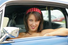 Happy woman in a car Royalty Free Stock Photography