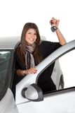 Happy woman with a car Stock Images