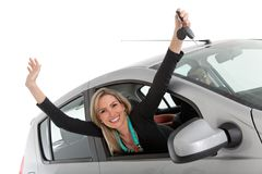 Happy woman on a car Royalty Free Stock Images