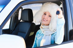 Happy woman in a car Stock Photos