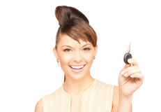 Happy woman with car key Stock Photo