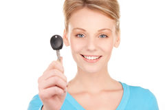 Happy woman with car key Royalty Free Stock Photography
