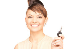 Happy woman with car key Stock Images