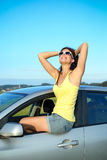 Happy woman on car summer travel Stock Photography