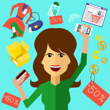 Happy woman with a card and phone in hands Royalty Free Stock Photography