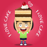 Happy woman carrying big chocolate cake Royalty Free Stock Photos