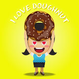 Happy woman carrying big doughnut or donuts Stock Image