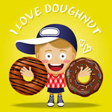 Happy woman carrying big doughnut or donuts Royalty Free Stock Photos