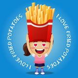 Happy woman carrying big fried potatoes Royalty Free Stock Photo