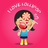 Happy woman carrying big lollipops Stock Photos