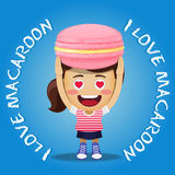 Happy woman carrying big macaroon or macaron Royalty Free Stock Photography