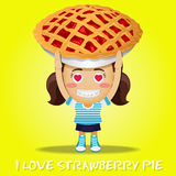 Happy woman carrying big pie Royalty Free Stock Image