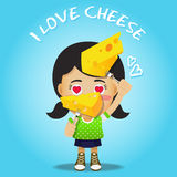 Happy woman carrying fork with big cheese Stock Images