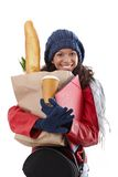 Happy woman carrying loads Royalty Free Stock Images